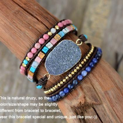 Genuine Druzy Bracelet | Natural Sq..