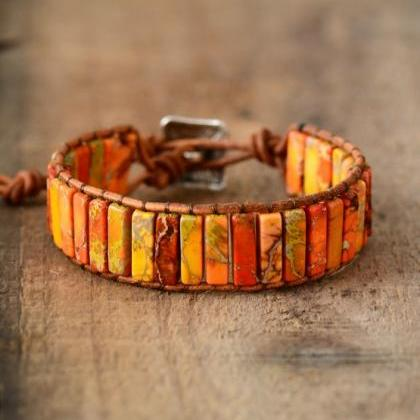 Bright Orange Imperial Jasper Tubestone Bracelet