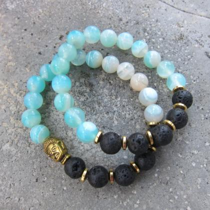 Natural Lava Stone and Teal Blue Ag..