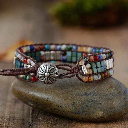 Colorful Stone Mix Beaded Bracelet ..