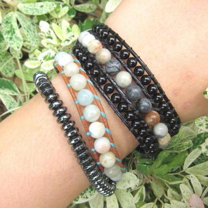 Black Onyx Jasper Cuff Leather Brac..