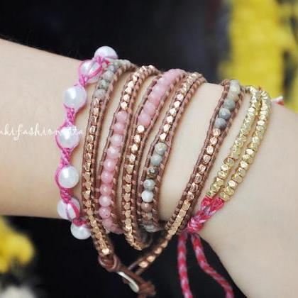 Beaded Wrap Bracelet - Pink Rose Ja..