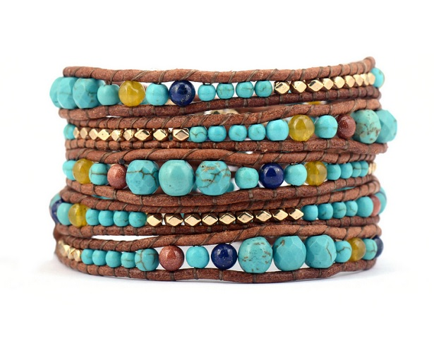 Turquoise Beaded Mix Wrap Bracelet Gold Plated Nuggets Stackable Trending Gift Ideas