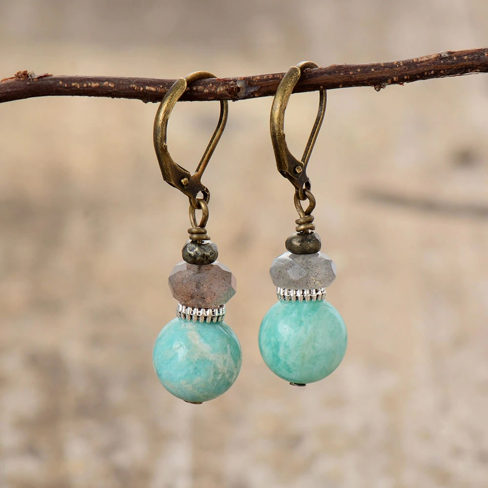Russian Amazonite and Labradorite Stone Earrings