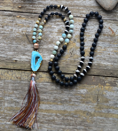 Druzy Necklace in Natural Lava, Agate, Dzi, Onyx with Tassel | Druzy Pendant Statement Jewelry | Boho Accessories
