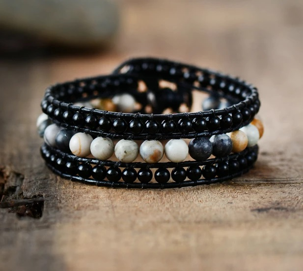 Black Onyx Jasper Cuff Leather Bracelet