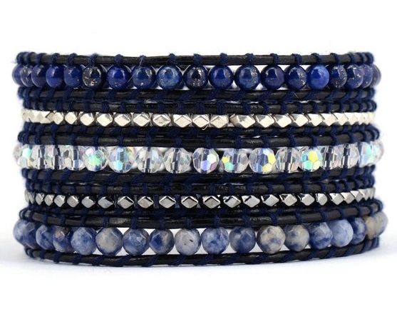 The Midnight Blue Wrap - Natural Stones with Silver Hematite Beads on Black Leather 5x Wrap Bracelet OOAK - Chan Luu Inspired