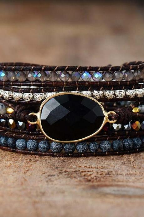 Natural Black Onyx Stone Beaded Wrap Bracelet