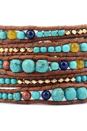 Turquoise Beaded Mix Wrap Bracelet - Turquoise, Gold Plated Nuggets Beaded Wrap Bracelet - Stackable Wrap - Trending Gift Ideas