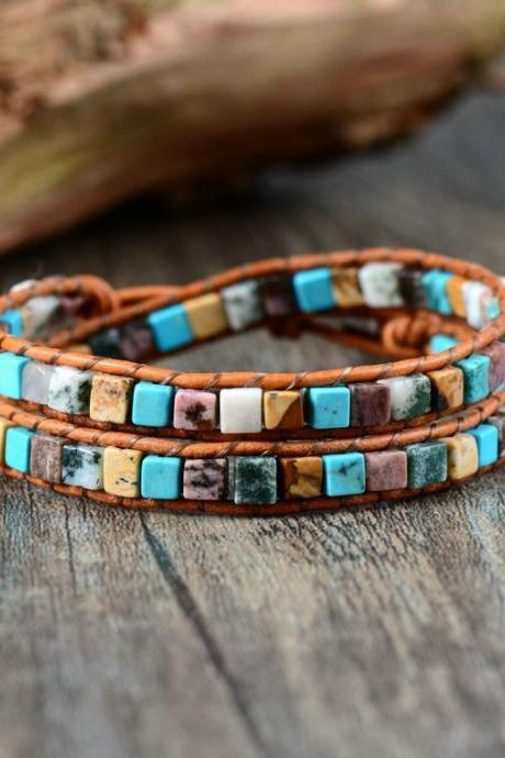 Double Strand Square Shaped Mix Beaded Bracelet | Boho Wrap Bracelet | Dainty Look | Chan Luu Style Bracelet