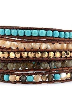 Mother of Pearl, Labradorite, Turquoise w/ Gold Beads Wrap Bracelet; Labradorite Mix Wrap; 5X Wrap, Holiday Gift ideas