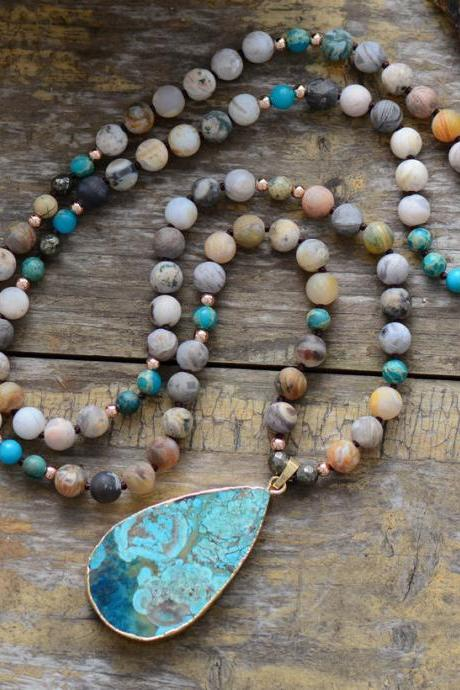Bohemian Beaded Mix Natural Stones Knotted Necklace