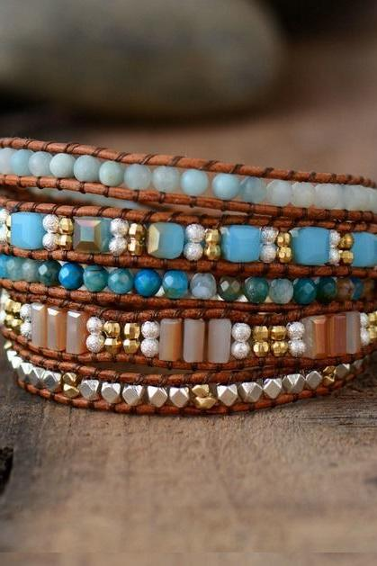 5X Bohemian Beaded Wrap Bracelet - Natural Stones, Square Shaped Crystals and Gold Beads with Tree of Life Button Closure