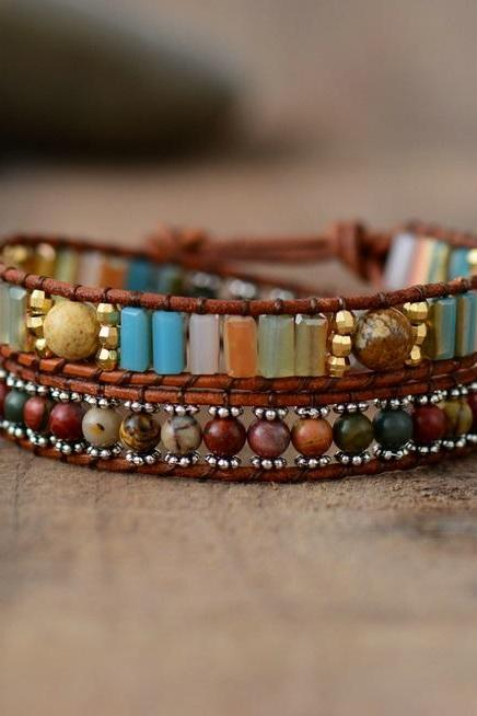 Double Wrap Jasper Square Shaped Crystals Mix Beaded Bracelet | Boho Wrap Bracelet | Dainty Look | Chan Luu Style Bracelet