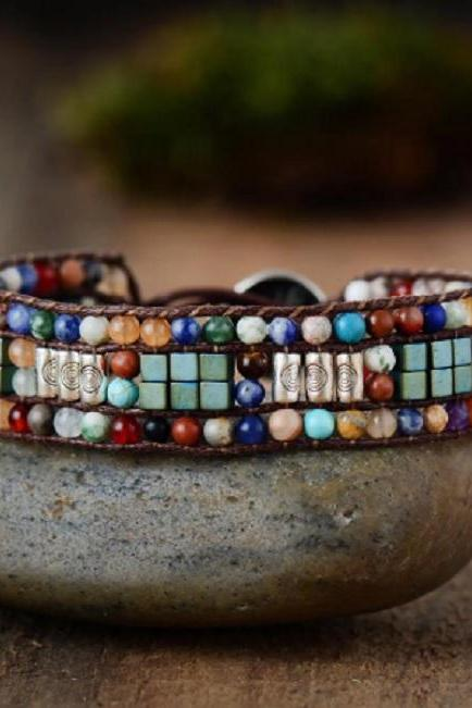 Colorful Stone Mix Beaded Bracelet | Ethnic Tribal Beaded Bracelet | Best of 2019 Bohemian Bracelet | Chakra Beaded Bracelet | Christmas Lights | Xmas Gift ideas | Holiday Favorites