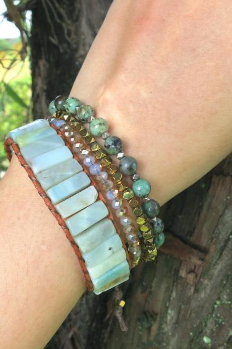 Amazonite Beaded Bracelet on Tan Leather Cord - Artisan Boho Chic Chan Luu Inspired