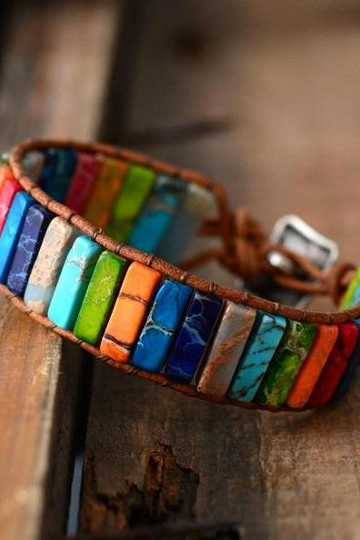 7 Chakra Rainbow Tubestone Leather Cuff Bracelet