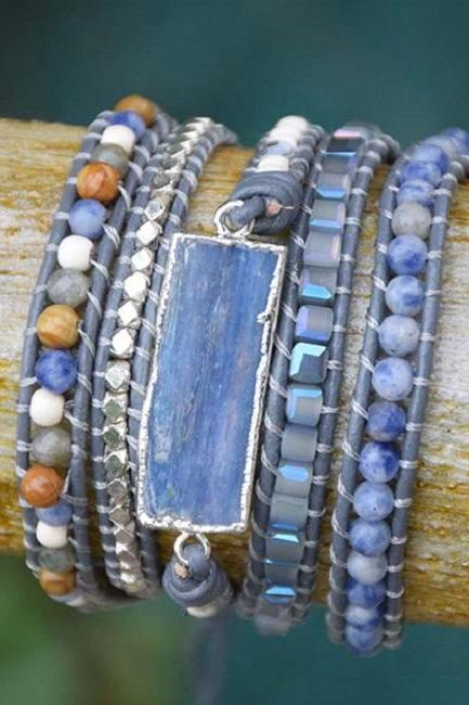 Ella Blue Kyanite Silver Gilded Stone Beaded Wrap Bracelet
