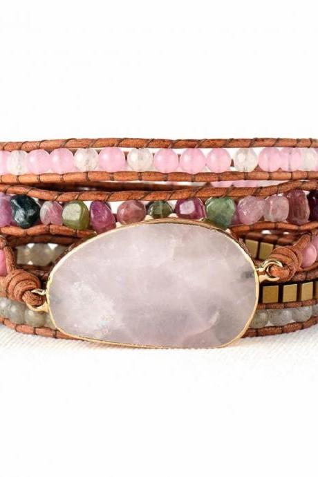 Natural Rose Quartz & Tourmaline Beaded Wrap Bracelet