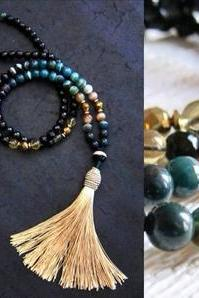 108 Mala Tassel Necklace in Agate, Green Bloodstone, Citrine w/ Champagne Gold Tassel