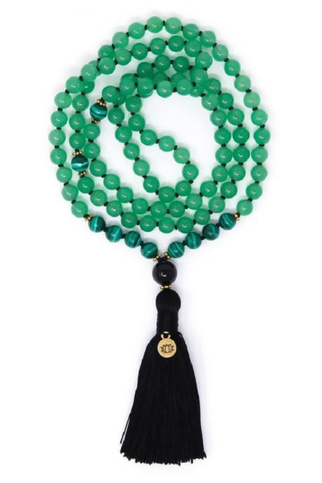 108 Green Aventurine + Malachite Mala Necklace