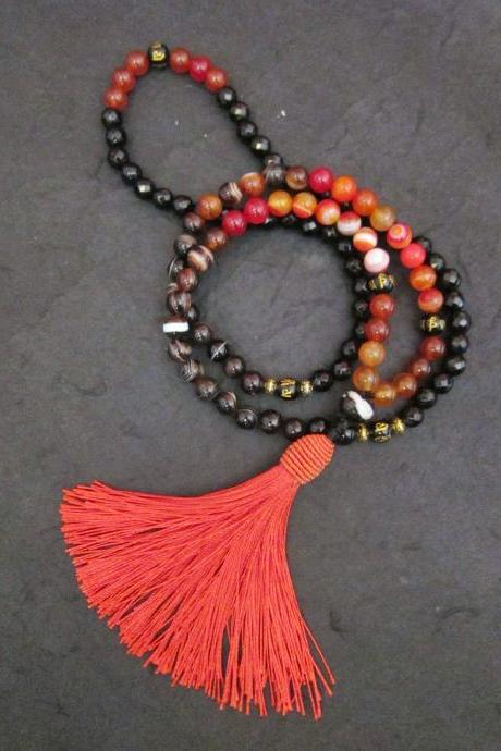 108 Mala Beaded Necklace in Red Orange Brown Line Agate, Carnelian, Tibetan Script (Guru) w/ Tassel Necklace