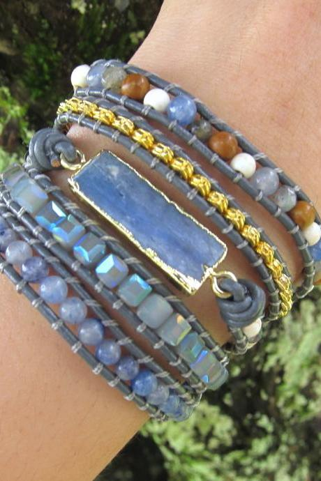 Ella Blue Topaz Gold Gilded Stone Beaded Wrap Bracelet