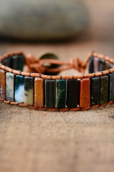 Colors of Chakra in Natural Agate Jasper Tubestone Bracelet