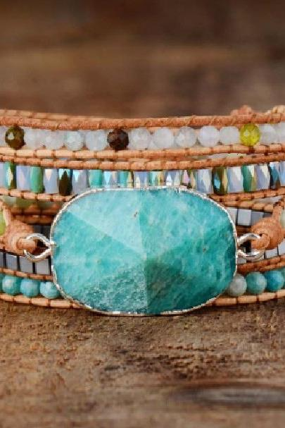 Natural Russian Amazonite Stone Wrap Mix Beaded Bracelet - OOAK Artisan Bracelet