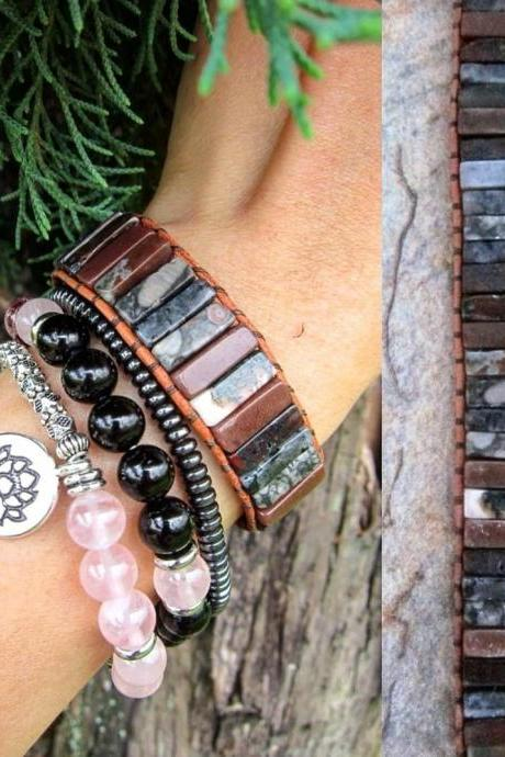 Jasper Agate Mix Tubestone Leather Bracelet