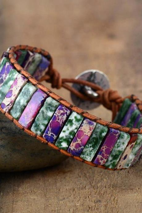 Moss Agate Jasper Tube Stone Leather Bracelet