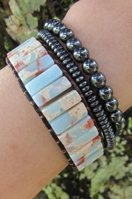 Natural Agalmatolite Jasper Cuff Leather Bracelet