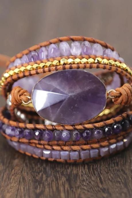 Amethyst Stone Leather Wrap Bracelet - 5X Wrap Beaded Bracelet - OOAK!