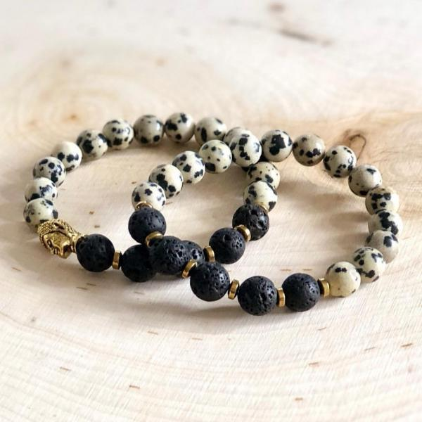 Natural Black Lava Stone and Dalmation Jasper Mala Bracelet (2 piece set)