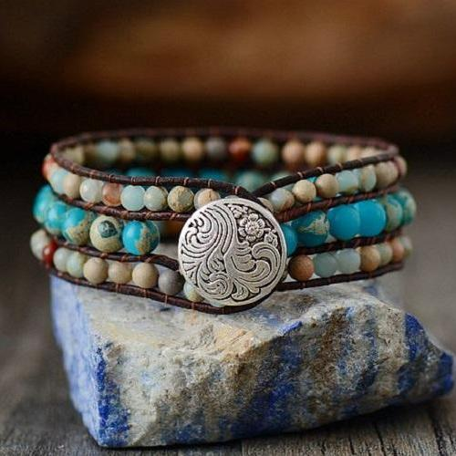 Aqua Terra Mix Jasper Beaded Bracelet | Single Wrap Jasper Beaded Button Bracelet | Ocean Jasper Bracelet | Chan Luu Style Bracelet
