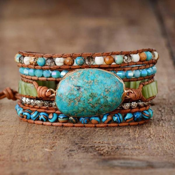 Beautiful Turquoise Gilded Jasper Stone Beaded Wrap Bracelet