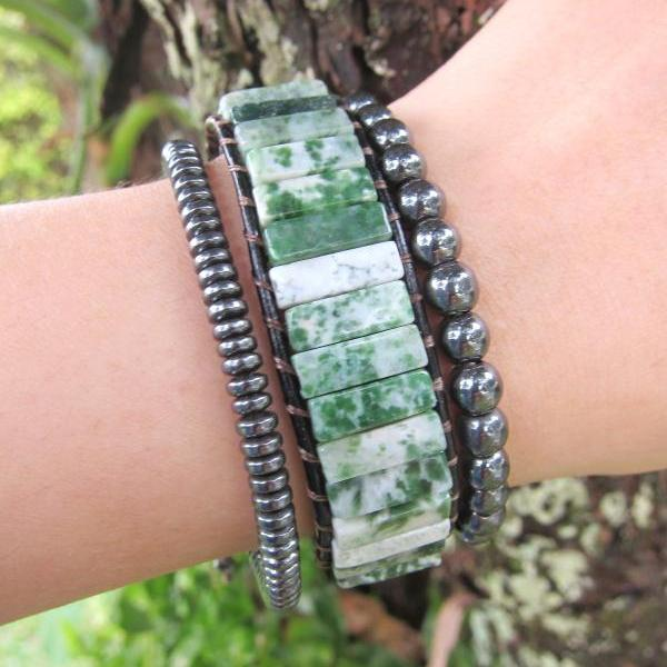 Tree and Moss Agate Tubestone Cuff Bracelet