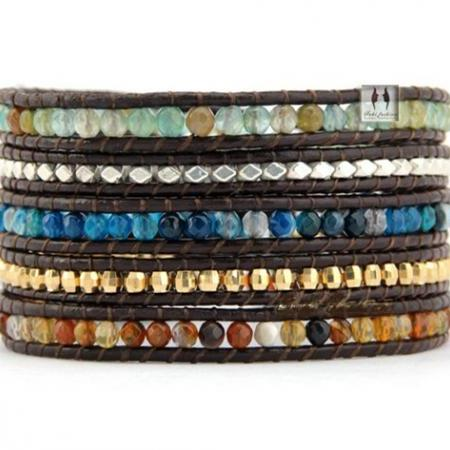Mixed Agate with Silver and Gold Nuggets 5X Wrap Beaded Bracelet - Chan Luu Inspired - Artisan Bohemian Jewelry