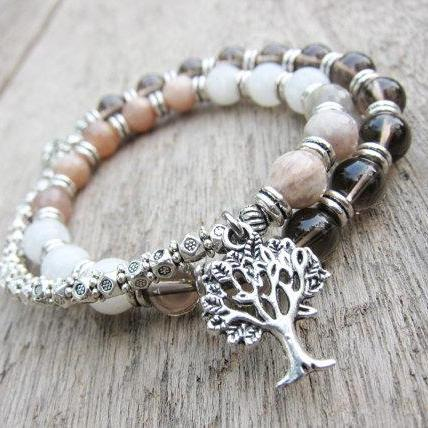 Yoga Mala Bead Bracelet w/ Ohm, Tree of life, Sunstone, Moonstone, Smoky Quartz for Meditation; Healing Bracelet; Grounded; Calm; Gift Ideas